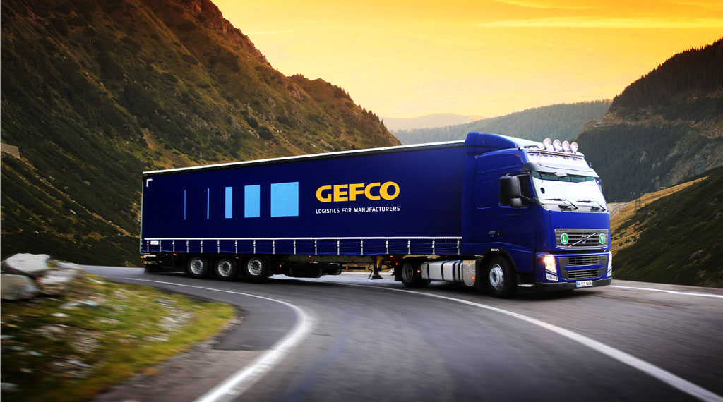 Gefco truck with mountain landscape