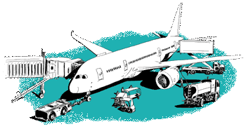 Green airport with plane and vehicles illustration