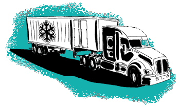 Green truck with ice symbol illustration
