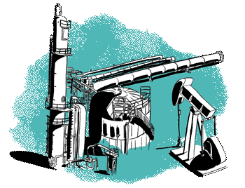 Green oil and gas illustration