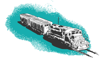 Green train on rails illustration