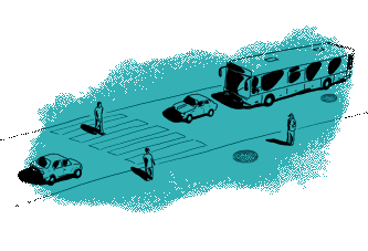 Green street with pedestrians and vehicles illustration