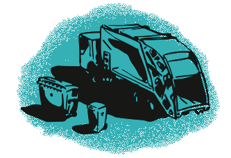 Green garbage truck illustration