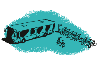 Green bus and bicycles illustration