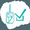 Blue sensor with tik box cloud pictogram