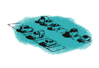 Green parking with cars illustration