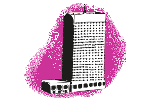 Pink building outside illustration