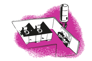 Pink Water closet illustration