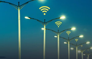 colored connected streetlamps picture