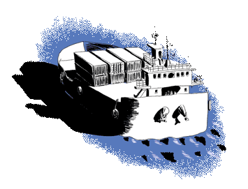 Blue boat with containers illustration