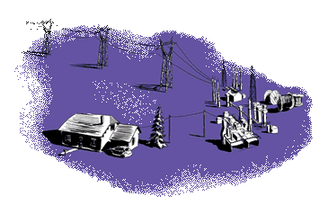 Blue electricity grid with house and cables illustration