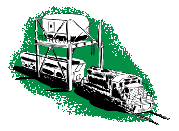 Green train at loading station illustration