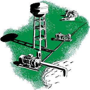 Green water pump and water tower with lake illustration