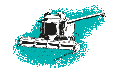 Green harvester in field illustration