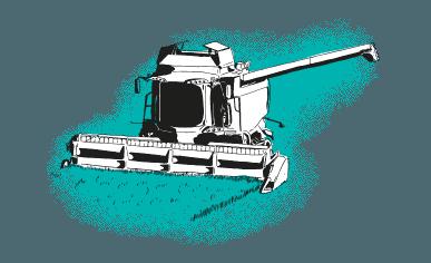 Green harvester in field illustration