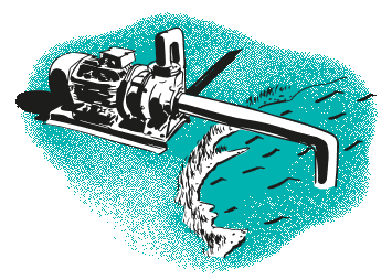 Green water pump with lake illustration