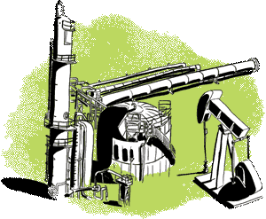 Green illustration of oil and gas