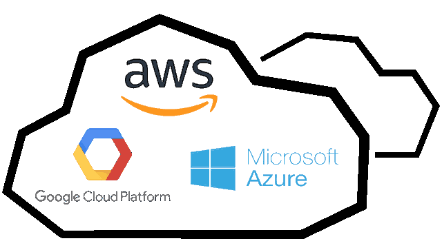 AWS, Google cloud and Microsoft azure logo inside a cloud