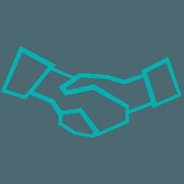 Bleu hand shake icon