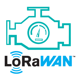 Blue engine icon and LoRaWAN logo