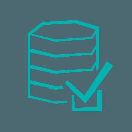 Blue server and tick box icon