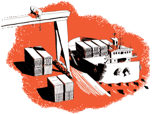 Red illustration of a boat charging containers at a port