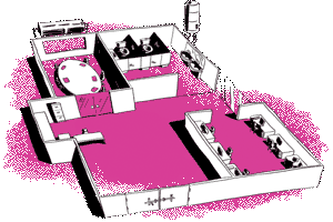 Pink illustration of smart building