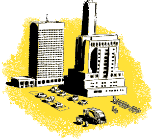 Yellow Smart city illustration