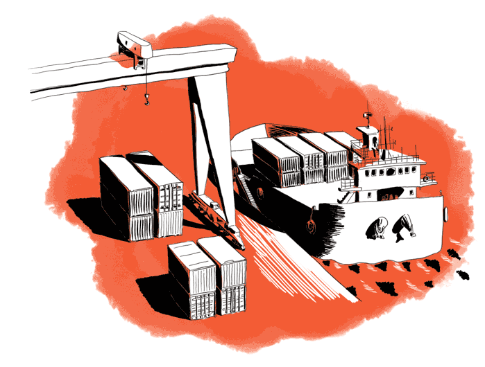 Illustration of a port with boat and containers
