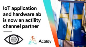 "Image with text saying ""IoT application and hardware ab is now an Actility channel partner""."