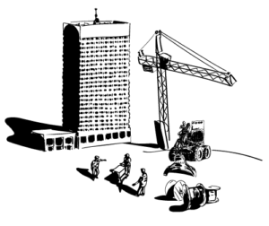 Construction site illustration with crane and workers