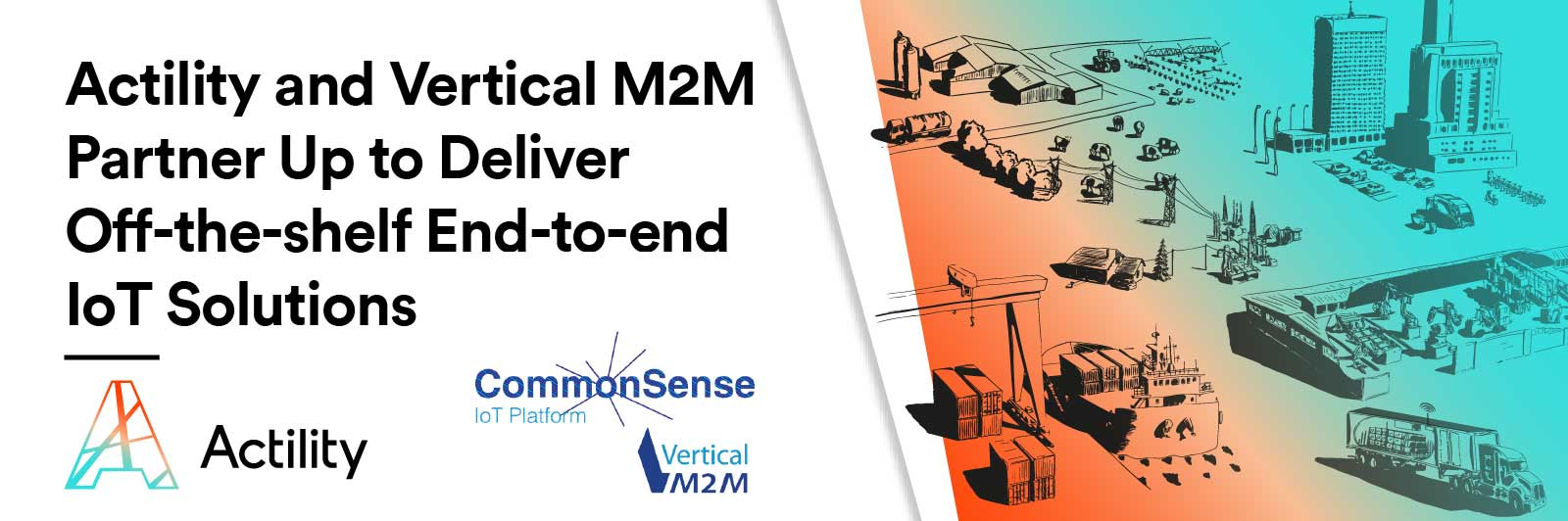"vm2m image header with text ""Actility and Vertical M2M Partner Up to Deliver Off-the-shelf End-to-end IoT Solutions"""