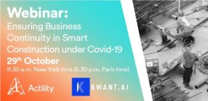 Image presenting Kwant.ai and Actility webinar with construction site background