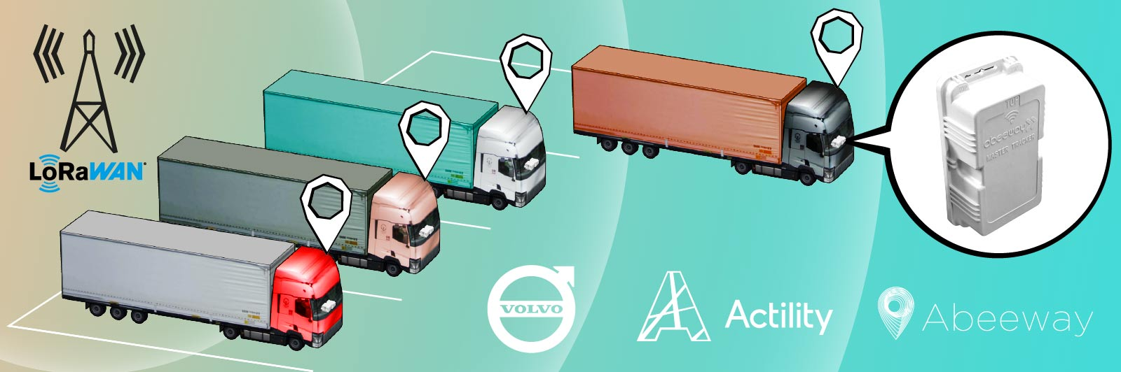Picture of Volvo trucks with Abeeway geolocation trackers