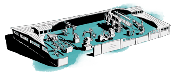 Blue factory with convoyer belt and crates illustration