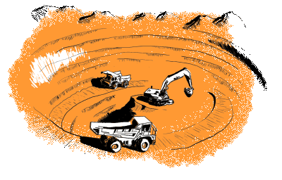 Orange illustration of mining and vehicle tracking